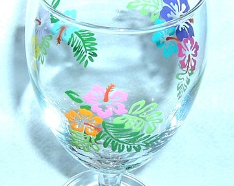 Tropical/Hibiscus Water Goblet - Water Glass Hand Painted
