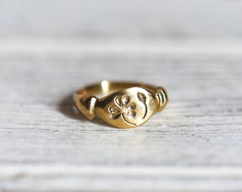 14K Gold Wood Sorrel Botanical Ring, Spring Botanical Jewelry, Stacking Ring, Flower Ring, Promise Ring, Gold + Bronze by Peg and Awl