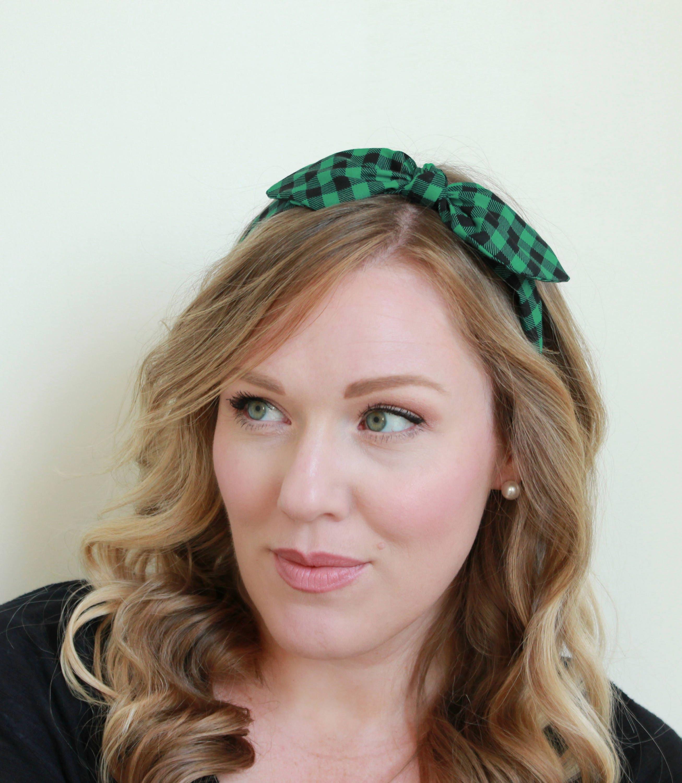 Buffalo Check Headband Hair Accessories Womens Headband Plaid Green and Black  Headband Fabric Headband Adult Headband 6319ed4029b