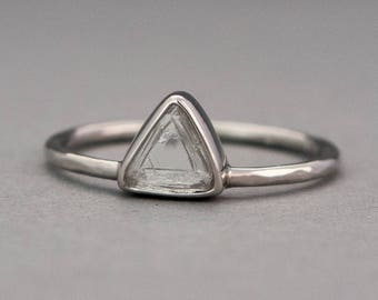 Custom Triangle Diamond and Platinum Engagement Ring, Choose your own Raw Macle Diamond