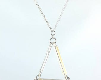 Geometric Bar Necklace Triangle Modernist Mod Pendant