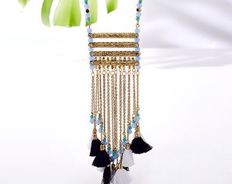 Long Fringe Necklace,Layering Tassel Necklace,Statement Jewelry-Bohemian trending necklace-Cleopatra collection from Taneesi AN345