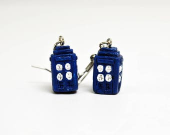 TARDIS Earrings in Silver - Silver TARDIS Jewelry, Silver Doctor Who Earrings, Silver Doctor Who Jewelry, Silver Dr Who Earrings, Anglophile