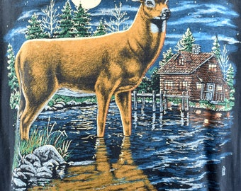 Moonlit Deer on a Lake T-Shirt, Size Large, Made in the USA