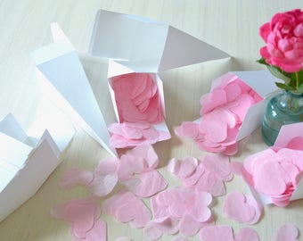 10,000 Light Pink Heart Shaped Biodegradable Tissue Wedding Confetti - Perfect for your outdoor event! Limited Quantity Available.