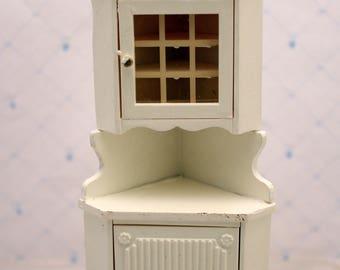 Dollhouse Corner Hutch Cabinet Kitchen Miniature Furniture White