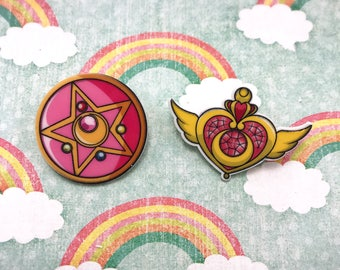 Sailor Moon Crystal Star Cosmic Heart Kawaii Cute Pink Fairy Kei Lolita Anime Manga Geek Girl Nerd Resin Flatback Pin Button Cosplay