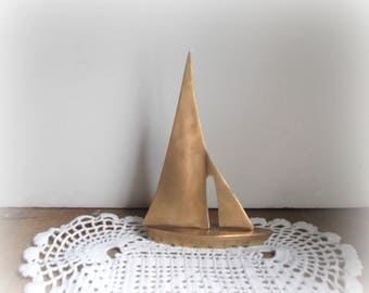 Vintage Brass Sailboat Mid Century Modern Brass Boat Paperweight Sailboat Sculpture