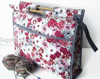 Pink + Grey Knitting Bag, Large Floral Sewing Bag, Crafts Storage Bag. Mothers Day gift for sewers, knitters + crocheters. PINK BOUQUET.