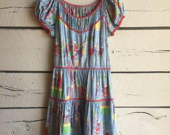 Vintage 1950s honky tonk dress • vintage cotton dress • 50s square dancing dress •