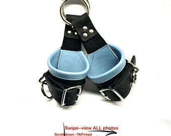 BDSM Bondage Suspension Cuffs Leather Black lined with BABY BLUE Leather