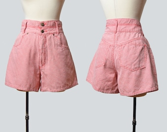Vintage 90s Houndstooth Denim Shorts MOM Shorts High Waisted  / 1990s Jean Wide Leg Grunge Baggy Hipster Red White Small