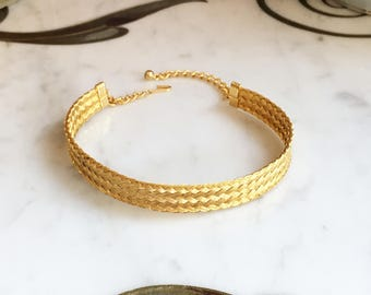 Vintage 60s 70s Woven Choker / GOLD Band Choker NECKLACE