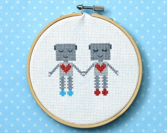 "Robot cross stitch pattern: ""cute robot couple"" - cross stitch pdf pattern, - valentines, anniversary, birthday - INSTANT DOWNLOAD"