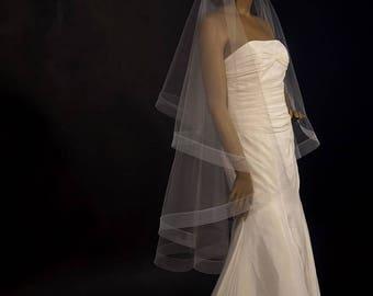 Elegant Drop Wedding Veil With 2 Horsehair Crinoline Edging Sheer