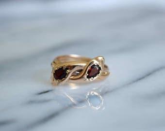 RESERVED/Installment Plan- Antique Victorian Snake Ring With Garnet Stones 9k Fully Hallmarked 1867