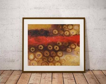 Gold and red abstract, metallic gold painting, original small artwork, giclee canvas prints, xl wall decor, original oil, small original art