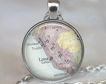 Peru map necklace, Peru map pendant Peru necklace Peru pendant Lima map necklace map jewelry  key chain key ring