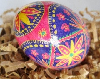 Pink and yellow Pysanka Ukrainian Easter Egg batik painted chicken egg 100 percent handmade in Canada unique gift for mom summer birthdays