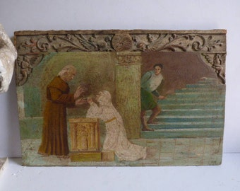 Vintage Painting on Carved Wood panel Architectural church salvage Italy Old World Angels Monk religious art