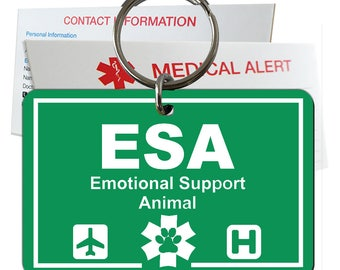 Emotional Support Animal ID Tag Pre-Engraved Rectangle Plastic SD10