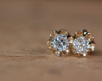 Old Mine Cut diamond stud earrings in buttercup yellow gold setting