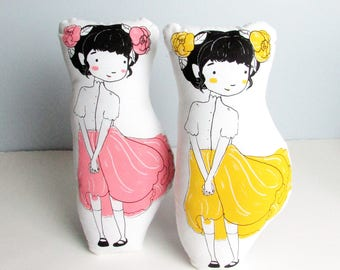 Flower Petal Girl Doll Pillow. Printed on Both Sides. Choose Either Pink or Yellow Petals. Hand Screen Printed. Ready to Ship.