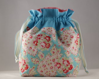 Knitting project bag small floral paisley print sock shawl drawstring bag