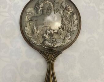 Brass Victoria Art Nouveau Hand Mirror