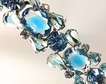 Juliana Bracelet, Vintage Jewelry, Rhinestone Jewelry, Juliana Jewelry, Large Blue Rhinestone Bracelet, 1950s 50s Vintage Blue Bracelet