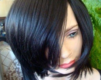 womens wig dark black wig chemotherapy alopecia short wig cap wig hat