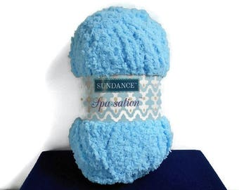 Blue Yarn Sundance Spa Sation Bulky Fluffy Soft Crochet Cozy Baby Blanket Socks 1 Ball  1.75 oz