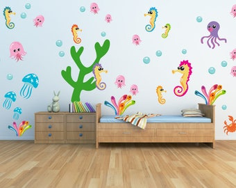 Kids Wall Decals, Fish Wall Decals, Under the Sea Wall Decals, FABRIC Decals Reusable Non-toxic NO PVCs, A241