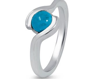 Sterling silver ring with Turquoise stone, 925 Turquoise Engagement Ring, Embracing 925 Silver ring , Unique 925 silver band ring