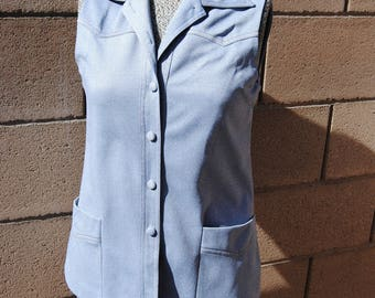 Vintage 1970's Pale Blue Vest with Western Flare