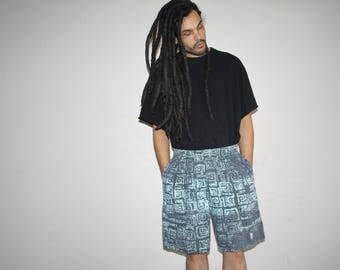 1990s Vintage OP Ocean Pacific Neon Tribal Aztec Shorts - VTG OP Shorts - 90s Clothing - MV0429
