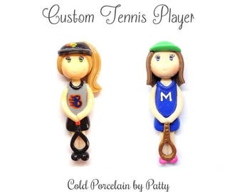 Custom Tennis Player Ornament, Pendant, Purse Charm, Magnet, Brooch, Bow Center, Necklace, Personalized Cold Porcelain Clay Figurine, Gift