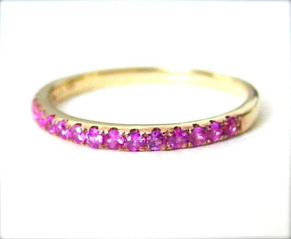 On Sale Pink Sapphire Anniversary Band 14k Yellow
