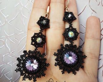 Black Snowflakes Earrings
