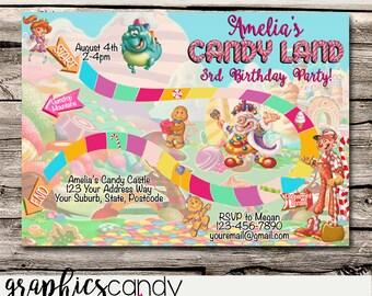 Candy Land Game Invitation - Birthday Party Invitation - Photo Invite - Printable - DIY - Digital File