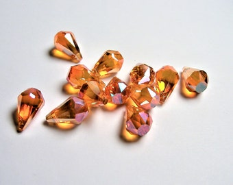 Crystal briolette  - 12 pcs - 9mmx14mm - top sideways drill - Faceted teardrop crystal  beads - AB finish - tangerine topaz - CBC2