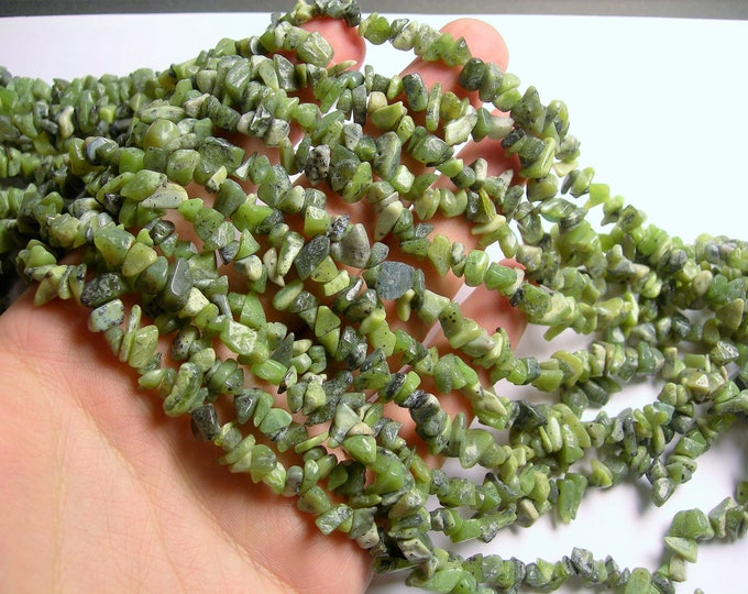 BC Jade gemstone - chip stone - pebble-  nugget - bead - 36 inch -full strand - Canada Jade - nephrite - PSC356