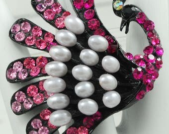 Pink Rhinestone Peacock Ring/Statement Ring/Cocktail Ring/Pearl/Big/Gift For Her/Bird Jewelry/Adjustable/Under 20 USD