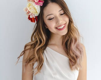 orange pink statement flower crown // spring racing flower crown / spring races flower crown headband / flower fascinator bohemian