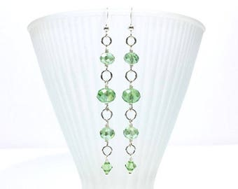 Peridot Green Crystal Wire Wrapped Beaded Dangle Earrings in Sterling Silver