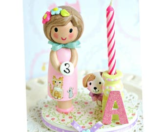 Birthday Candle, First Birthday Girl , Finger Puppet Cake Topper, Little Girl Party, Girl Gift, Second Birthday, 3rd Birthday, 4th Birthday