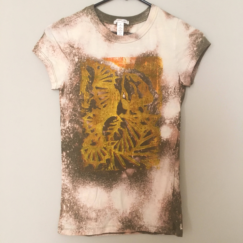 Womens acid wash t shirt fiddle fish linoleum for Custom acid wash t shirts