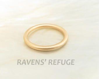 18k rose gold 2mm full round wedding band / stacking ring with satin / matte finish