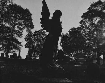 Angel with the Black Wing - Black & White Digital Photographic Print, Fine Art Photography, Wall Art, Home Decor, Graveyard, Dark Art