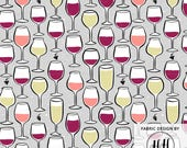 Wine Glass Fabric By The Yard / Adult Holiday Gift Project / Sommelier Fabric / Red White Champagne Rose / Wine Print in Yard & Fat Quarter